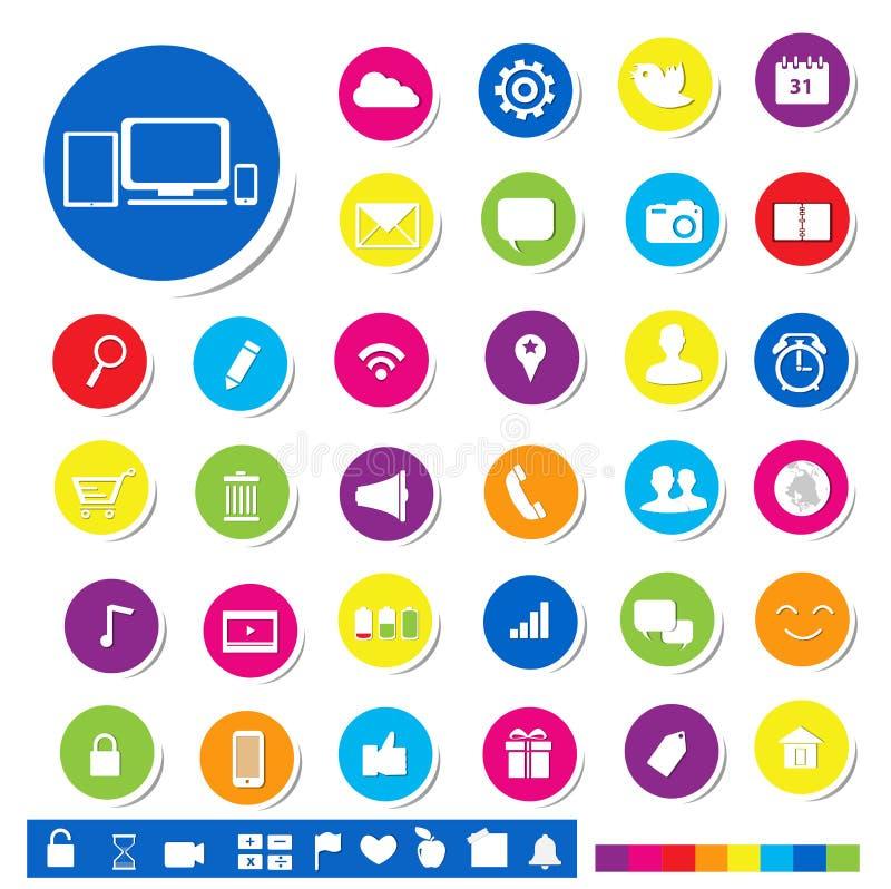 Ogólnospołeczna Medialna ikona dla Onlinego Marketingowego pojęcia royalty ilustracja