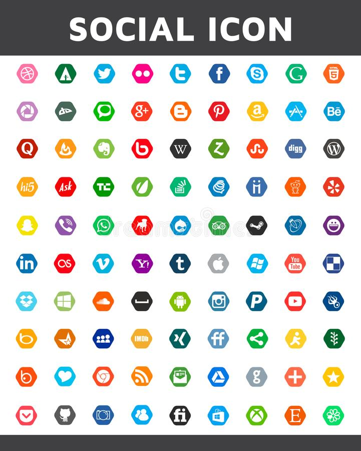 Ogólnospołeczna medialna ikona w sześciokąta stylu Piękny koloru projekt dla strony internetowej, szablon, sztandar obrazy royalty free