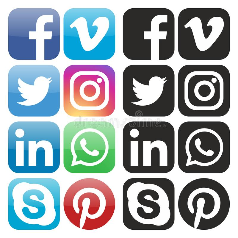 Ogólnospołeczna medialna ikona wektoru kolekcja ilustracji
