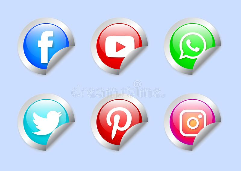 ogólnospołeczna medialna ikony paczka ilustracji