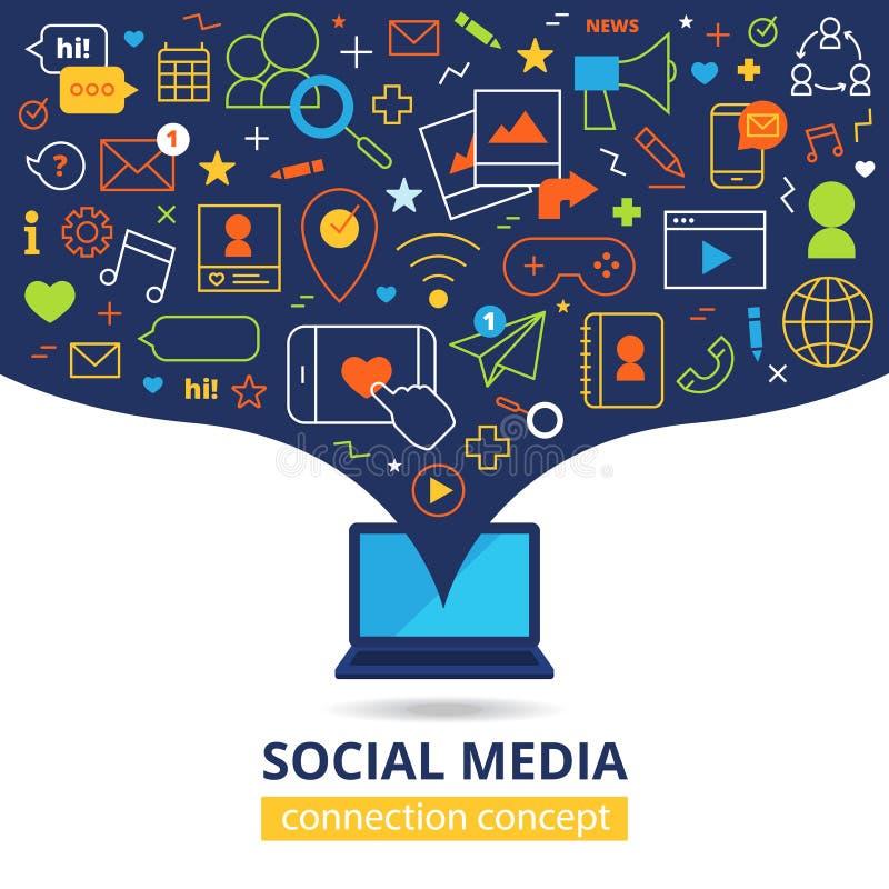 Ogólnospołeczna medialna ilustracja royalty ilustracja