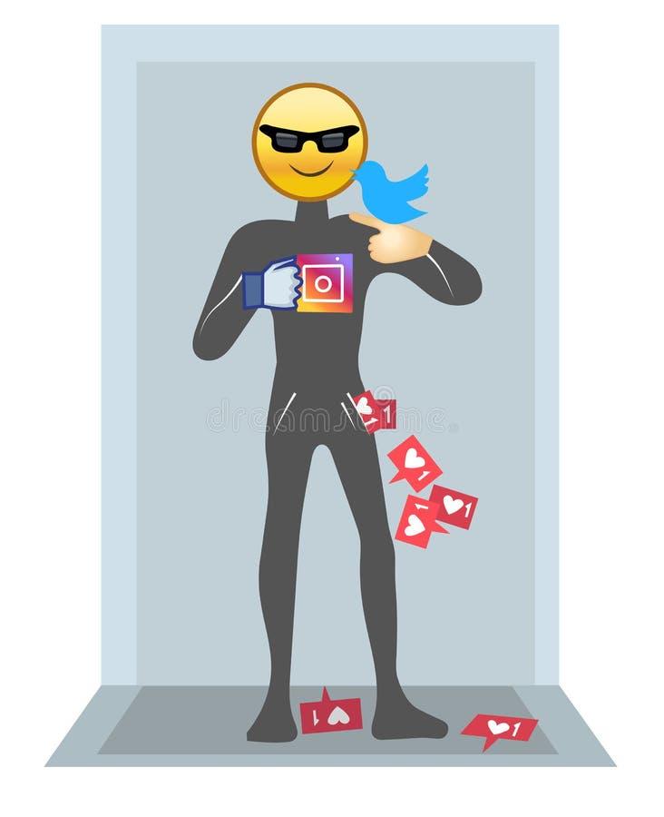 Ogólnospołeczna medialna istota, mężczyzna który używa ogólnospołecznych środki ilustracji