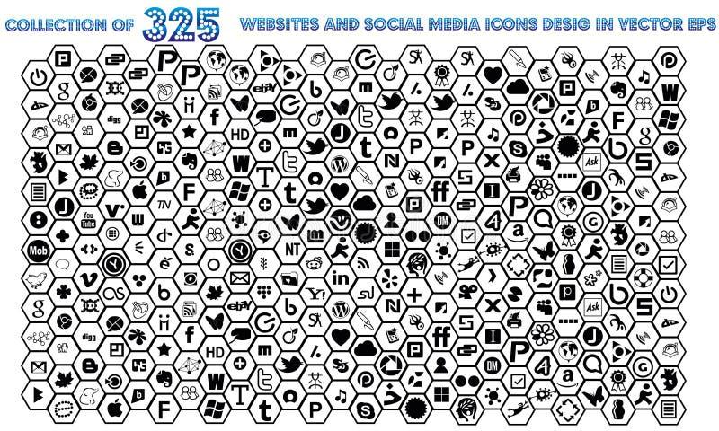 Ogólnospołeczna Medialna kolekcja 325 stron internetowych I socjalny ikony symbolu Medialnego znak royalty ilustracja