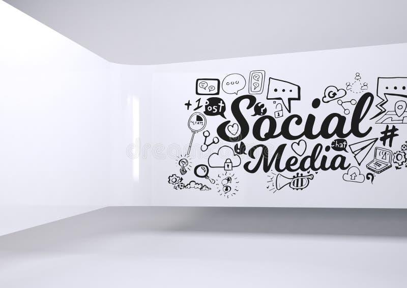 Ogólnospołeczna Medialna konceptualna grafika na 3D pokoju ścianie ilustracji