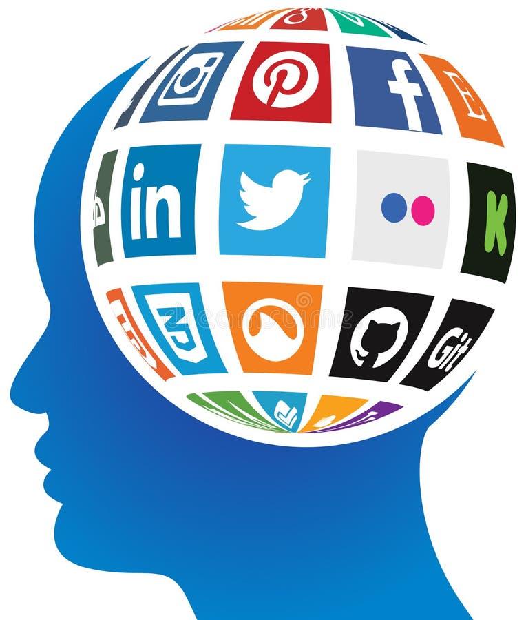 Ogólnospołeczna medialna kula ziemska ilustracja wektor