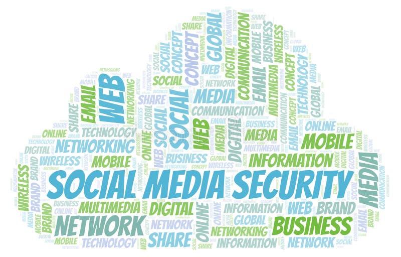 Ogólnospołeczna Medialna ochrony słowa chmura royalty ilustracja