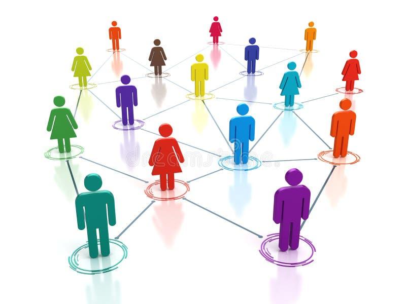 Ogólnospołeczna medialna sieć - złączeni ludzie pojęć royalty ilustracja