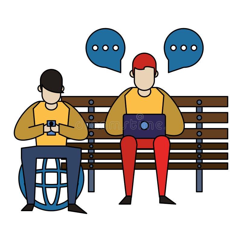 Ogólnospołeczna medialna sieci gawędzenia kreskówka ilustracja wektor