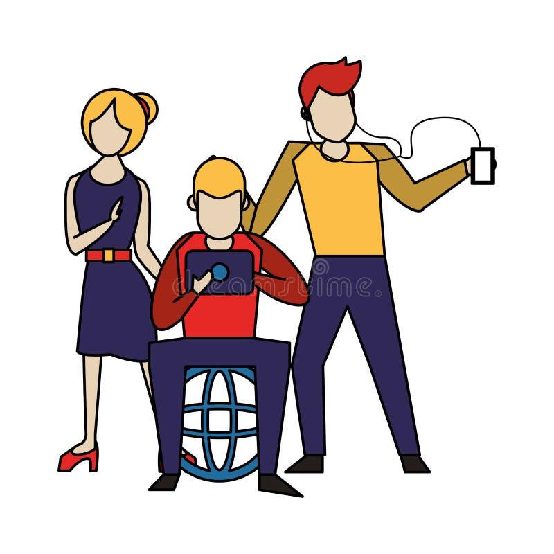 Ogólnospołeczna medialna sieci gawędzenia kreskówka royalty ilustracja
