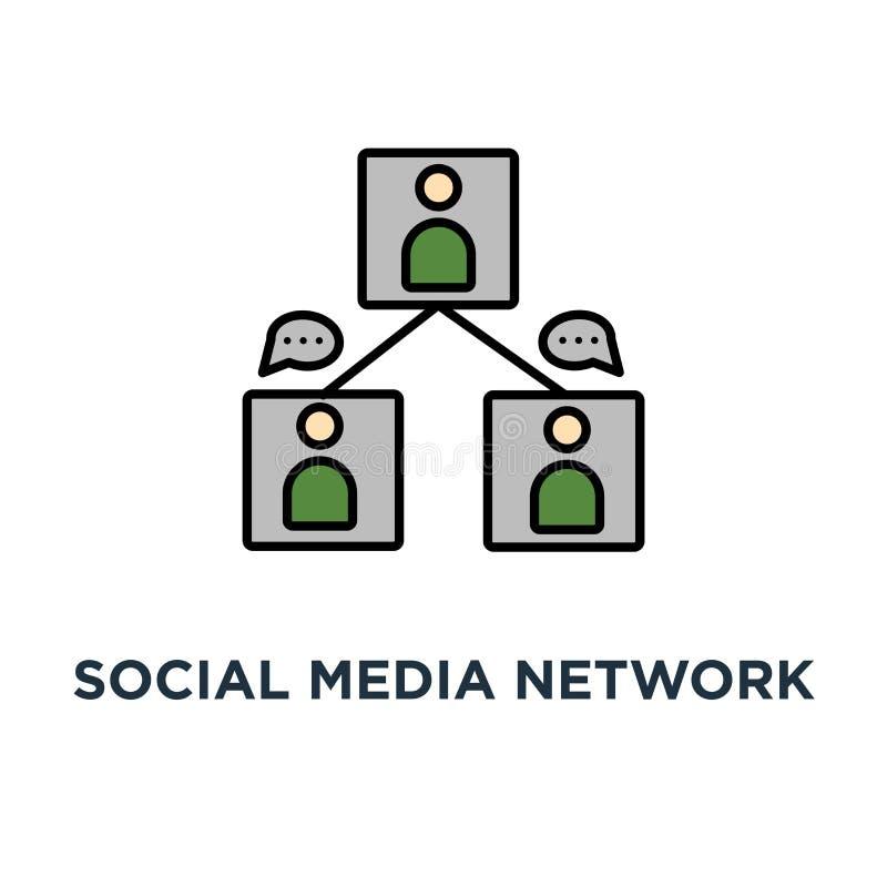 Ogólnospołeczna medialna sieci ikona ludzie związku, drużyny lub użytkowników współpraca, konturu pojęcia symbolu projekt, istota ilustracja wektor