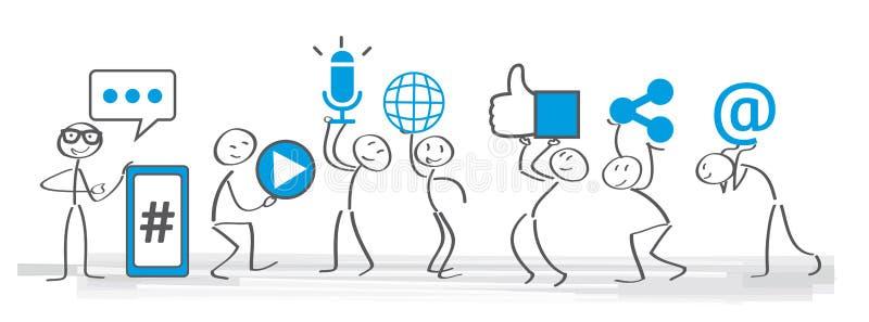 Ogólnospołeczna medialna społeczności ilustracja ilustracja wektor