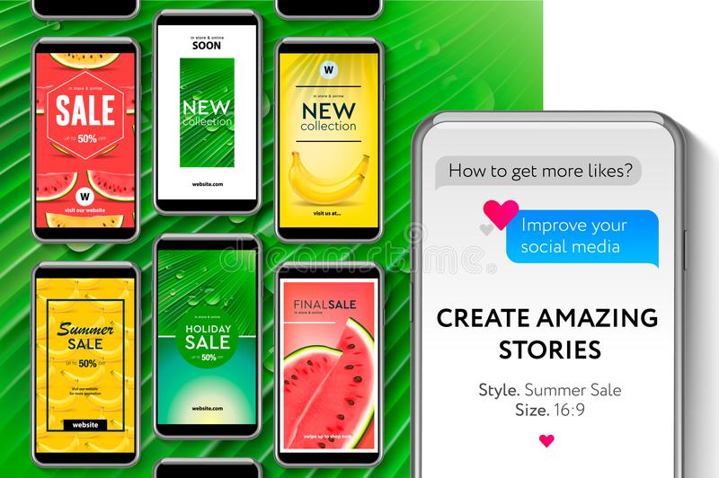Ogólnospołeczna medialna szablonu lata sprzedaż, tworzy opowieści dla gatunków i blogger, nowożytny promocyjny sieć sztandar dla  ilustracja wektor