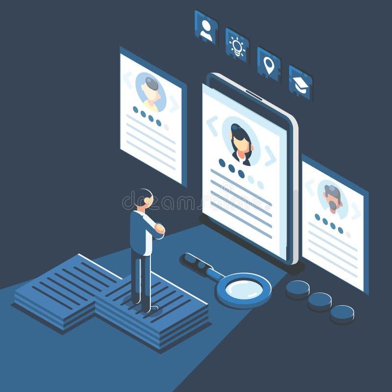 Ogólnospołeczna prezentacja dla zatrudnienia Infographic dla rekrutować Sieć rekruta zasobów, wyboru, badania lub pełni forma dla royalty ilustracja