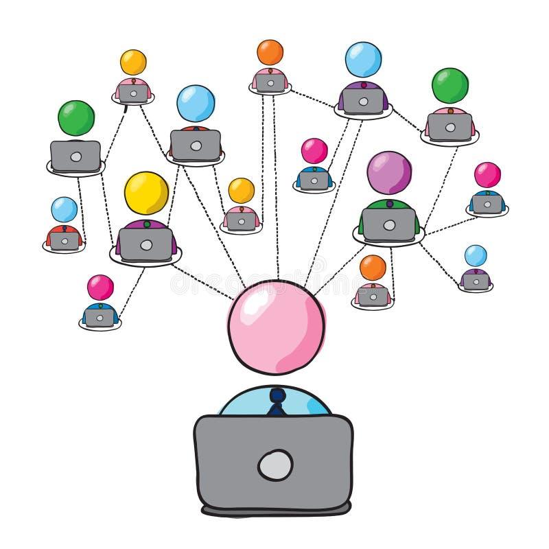 Ogólnospołeczna sieć 2 royalty ilustracja
