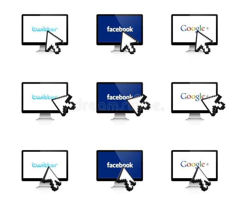 Ogólnospołeczna sieć na pokazie z 3D strzała ilustracja wektor
