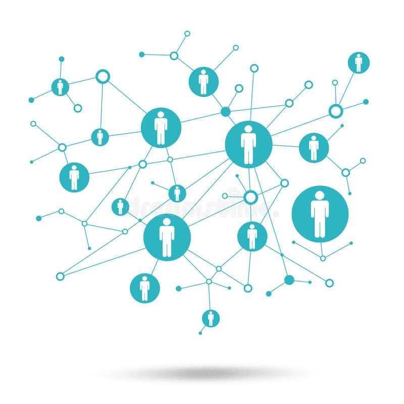 Ogólnospołeczna sieć. W kratownicie punkty są ludźmi ikon ilustracji