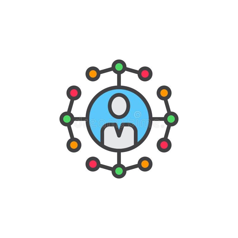 Ogólnospołeczna sieć związków kreskowa ikona, wypełniający konturu wektoru znak royalty ilustracja