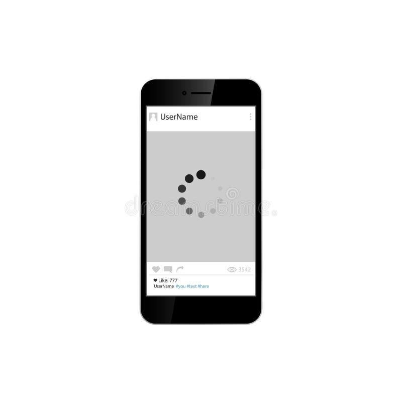 Ogólnospołeczna sieci fotografii rama na mądrze telefonie pojedynczy białe tło również zwrócić corel ilustracji wektora royalty ilustracja