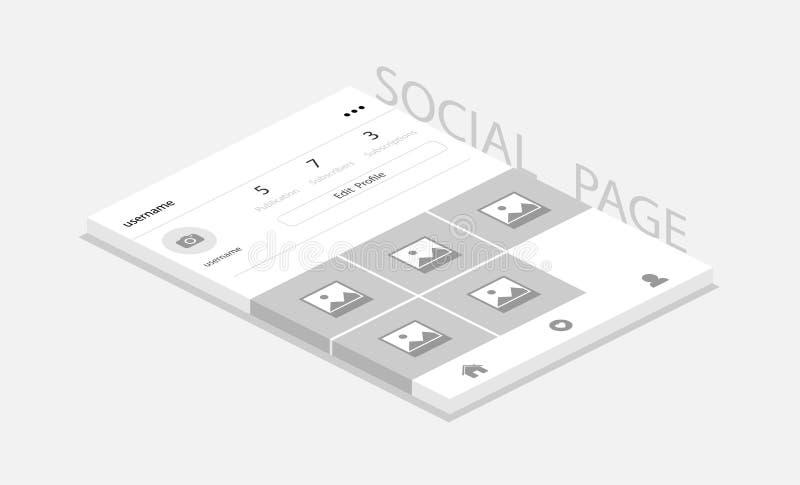 Ogólnospołeczna sieci fotografii rama z cieniem, Profilowa strona? Ogólnospołeczna strona dla zastosowania Isometric projekt ilustracji