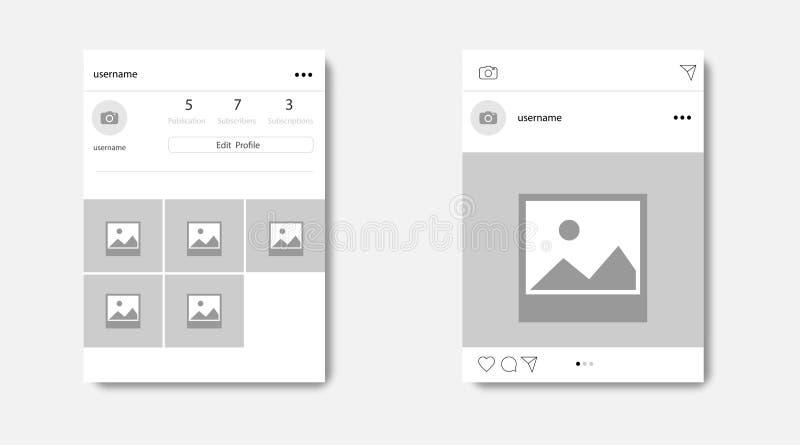 Ogólnospołeczna sieci fotografii rama z cieniem, Profilowa strona, wektorowa ilustracja royalty ilustracja
