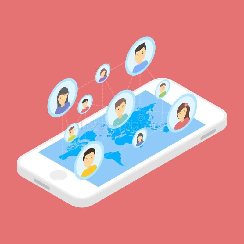 Ogólnospołeczna sieci i technologii pojęcia Globalna komunikacja mądrze telefon wiszącej ozdoby internetem ilustracja wektor
