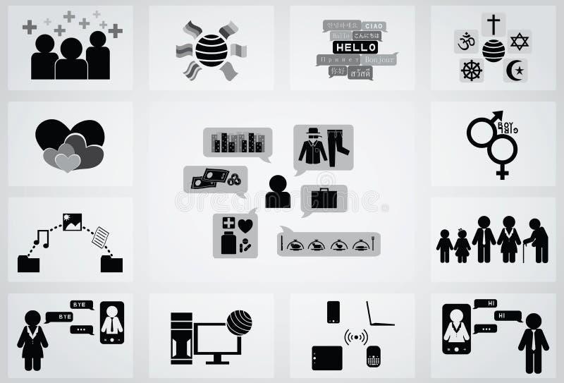 Ogólnospołeczna sieci ikona ilustracji