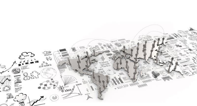Ogólnospołeczna sieci istota ludzka 3d na światowej mapie i ręka rysującym biznesowym str ilustracji