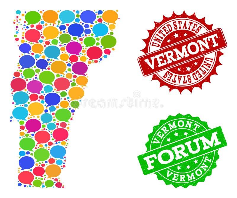 Ogólnospołeczna sieci mapa Vermont stan z rozmowa bąblami i cierpień Watermarks ilustracji