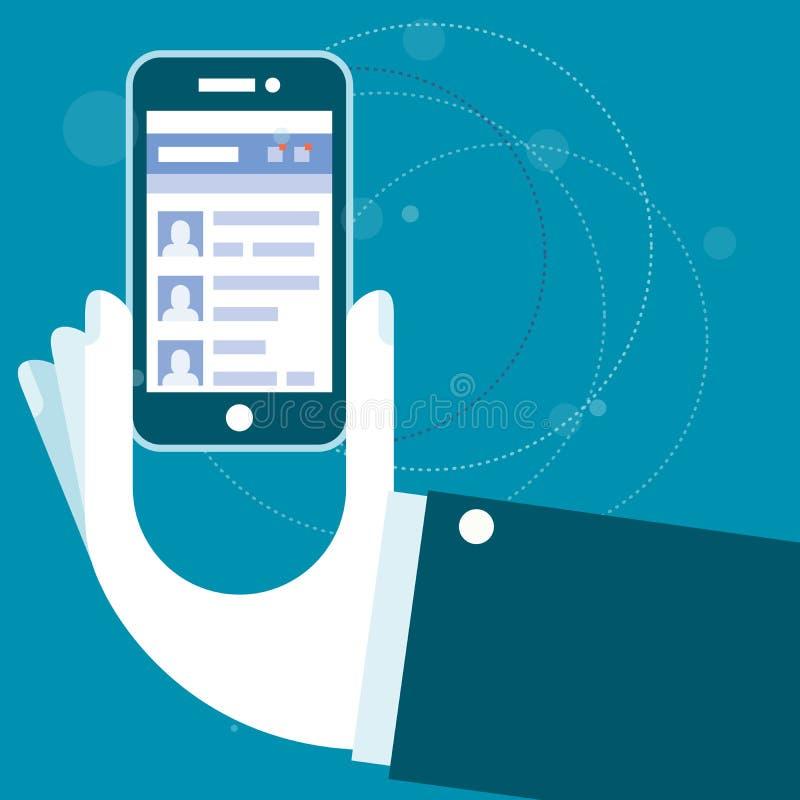 Ogólnospołeczna sieci strona internetowa - ręka z smartphone royalty ilustracja