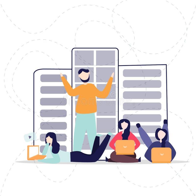 Ogólnospołeczna sieci strony internetowej surfingu pojęcia ilustracja młodzi ludzie używa laptop lub notatnika być częścią online royalty ilustracja