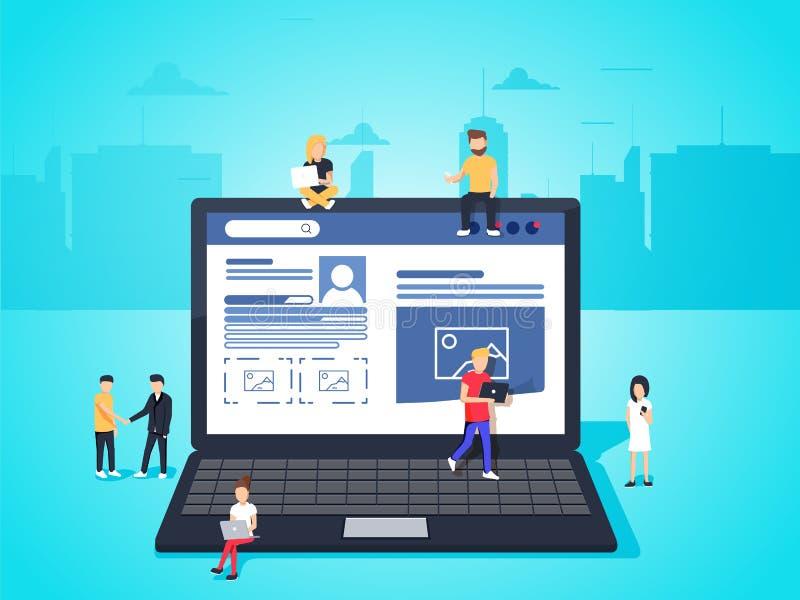 Ogólnospołeczna sieci strony internetowej surfingu pojęcia ilustracja młodzi ludzie używa mobilnych gadżety tak jak smartphone ilustracja wektor