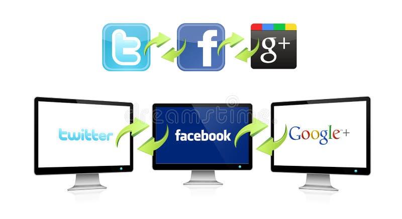 ogólnospołeczna sieci technologia ilustracja wektor