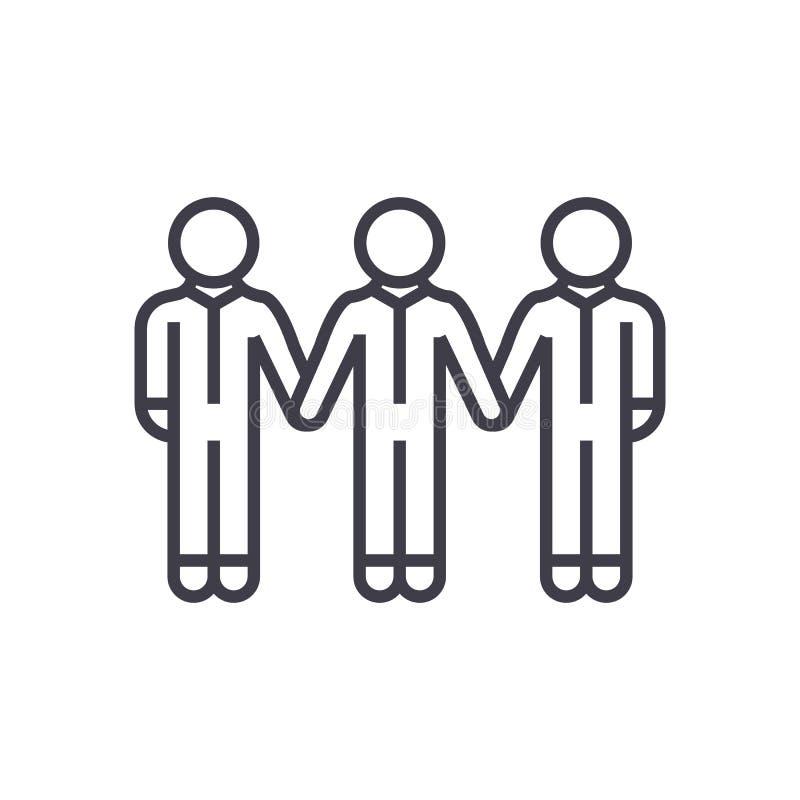 Ogólnospołeczna społeczność, więź wektoru linii ikona, znak, ilustracja na tle, editable uderzenia ilustracja wektor