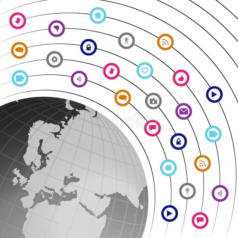 Ogólnospołeczna technologia i medialne ikony transmitujący networking gl ilustracji