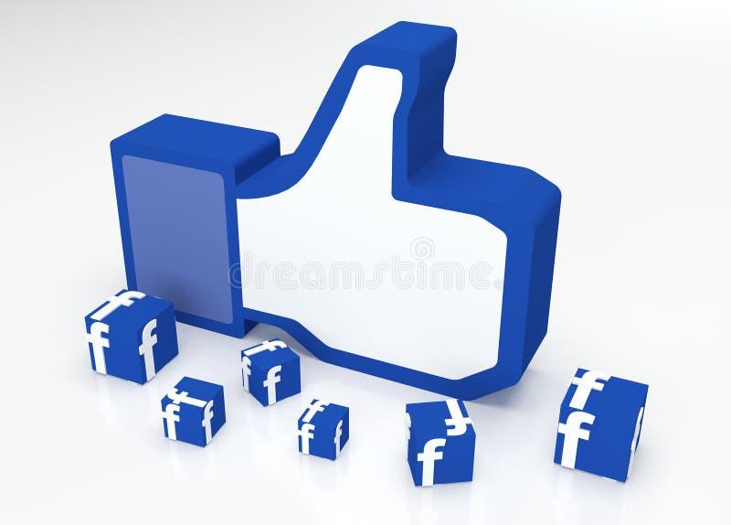 Ogólnospołeczne medialne facebook aprobaty royalty ilustracja