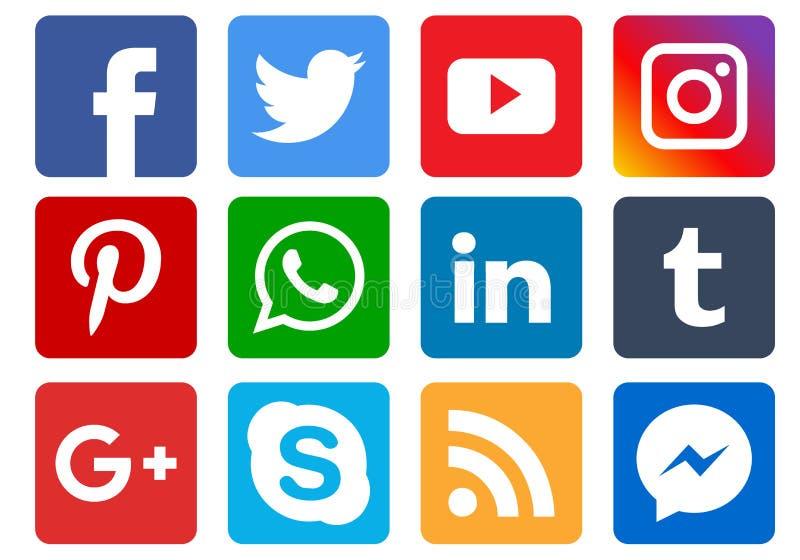 Ogólnospołeczne medialne ikony ilustracji