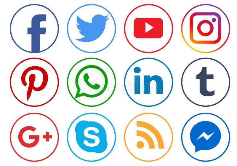Ogólnospołeczne medialne ikony ilustracja wektor