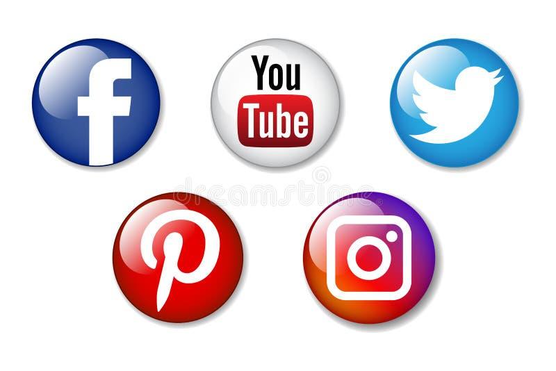 Ogólnospołeczne medialne ikony royalty ilustracja