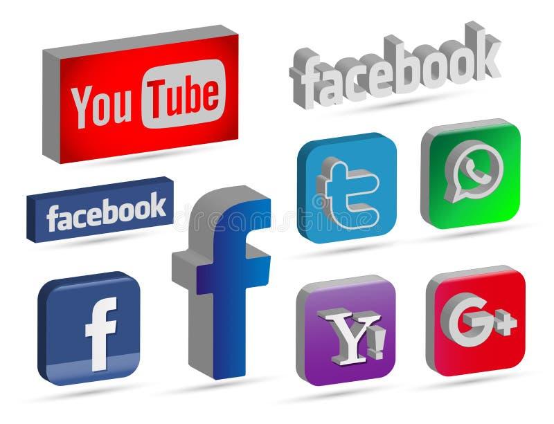 Ogólnospołeczne medialne ikony i logo w 3D ilustracja wektor