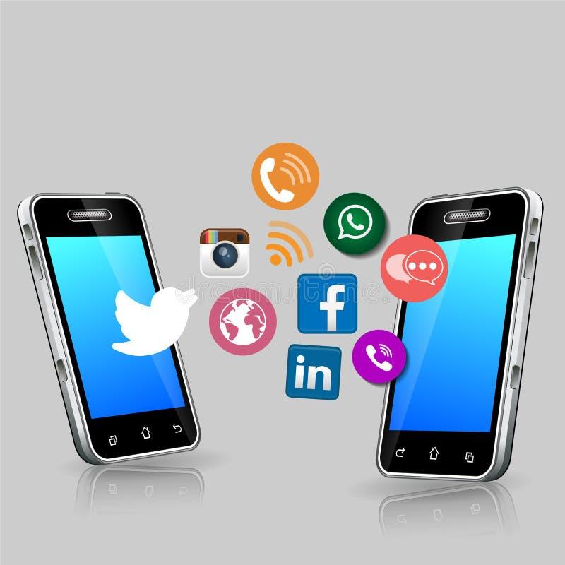 Ogólnospołeczne medialne ikony i ważność telefon komórkowy ilustracja wektor