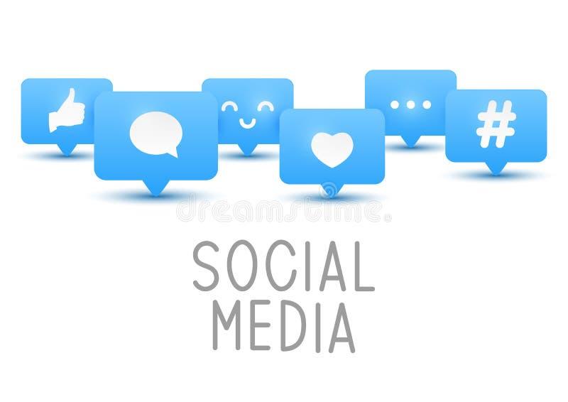 Ogólnospołeczne medialne ikony na bielu royalty ilustracja