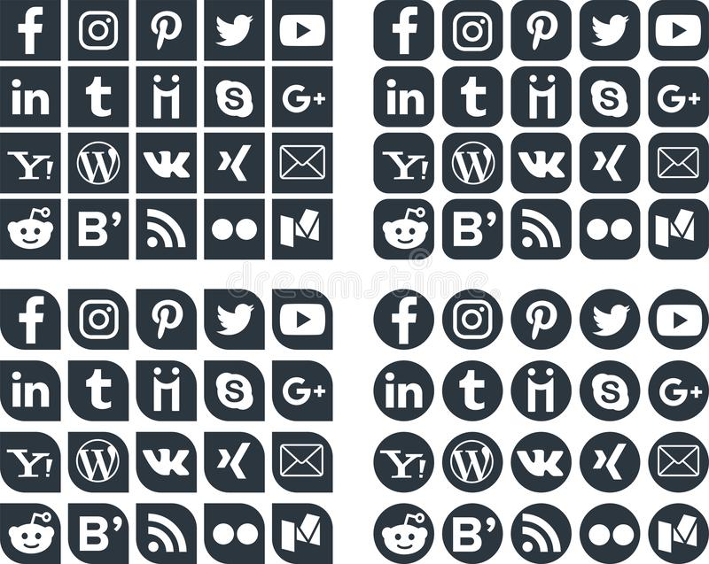 Ogólnospołeczne Medialne ikony 1 royalty ilustracja
