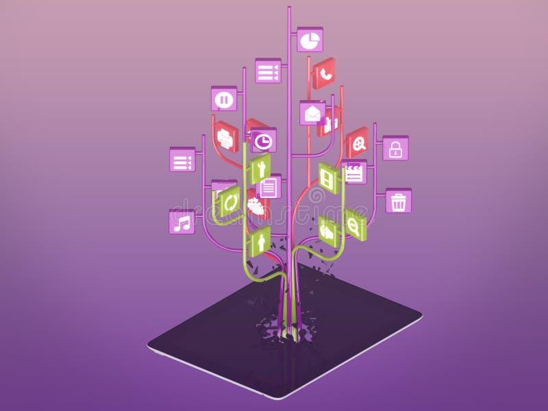 Ogólnospołeczne medialne ikony ustawiać w drzewnym kształcie na Nowożytnym czarnym pastylka komputerze osobistym ilustracji