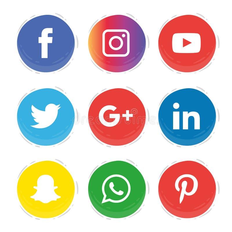Ogólnospołeczne medialne ikony ustawiają logo wektoru ilustratora royalty ilustracja