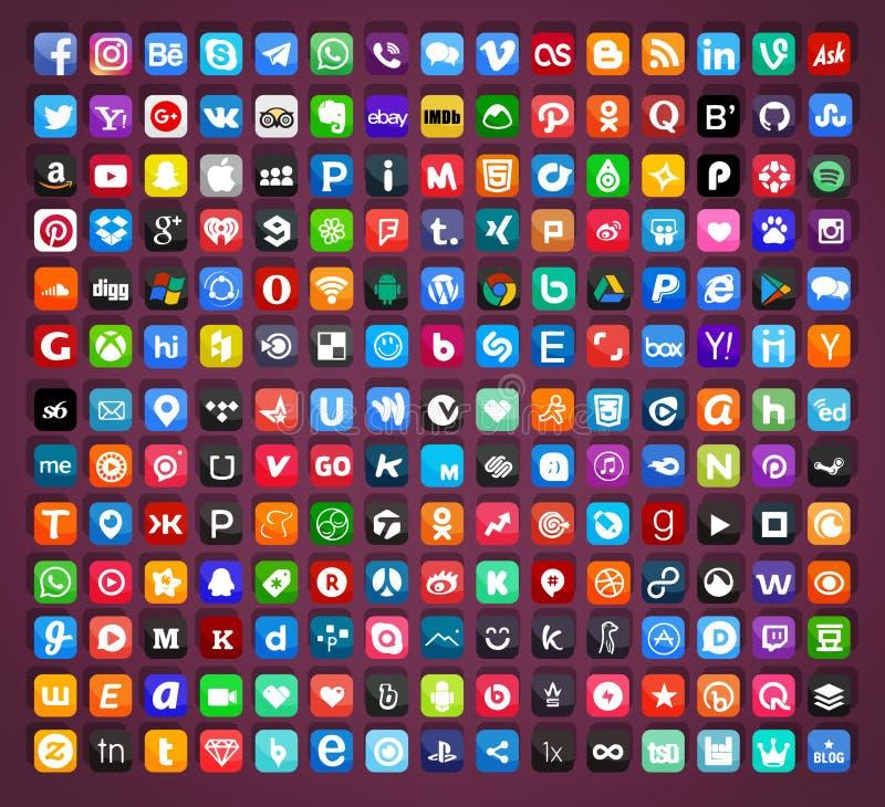 Ogólnospołeczne medialne ikony ustawiający wektor royalty ilustracja