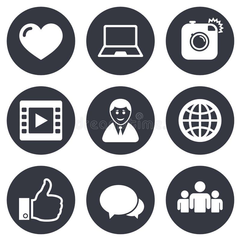 Ogólnospołeczne medialne ikony Wideo, części i gadki znaki, royalty ilustracja