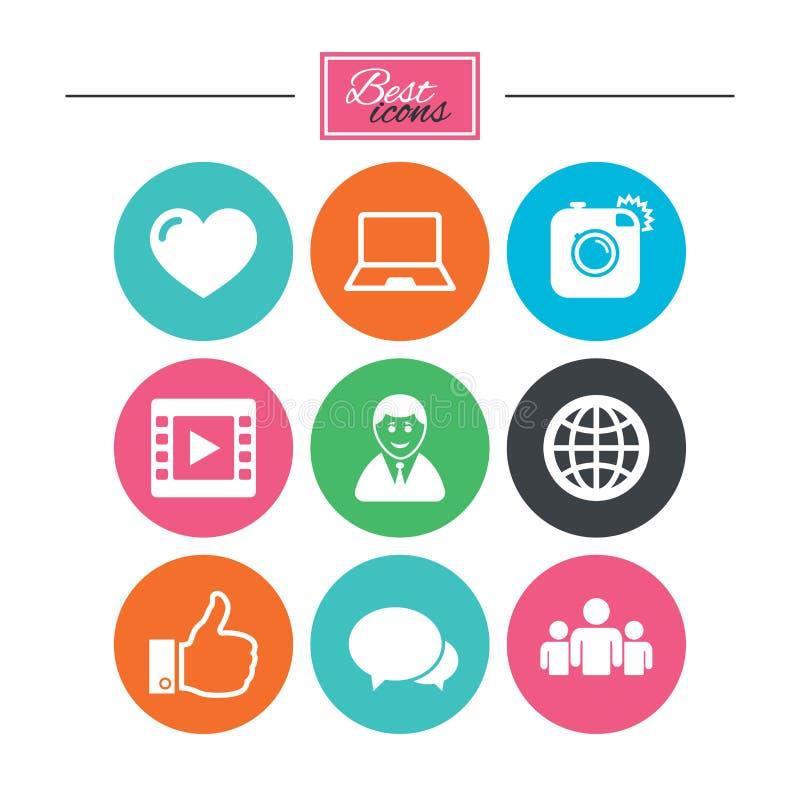 Ogólnospołeczne medialne ikony Wideo, części i gadki znaki, ilustracji