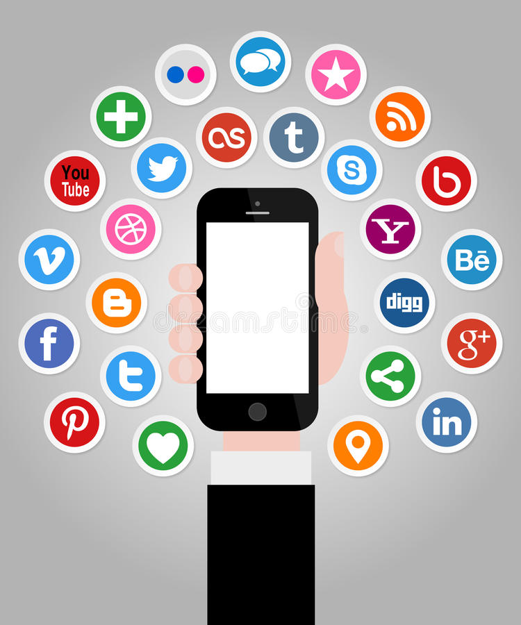 Ogólnospołeczne Medialne ikony z ręką Trzyma Smartphone ilustracji