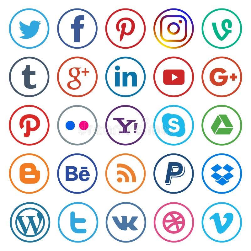 Ogólnospołeczne medialne ikony zaokrąglamy kolorowy i kreskowy ilustracji