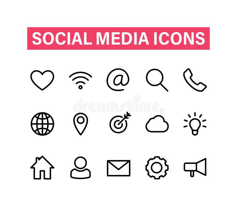 Ogólnospołeczne medialne liniowe ikony ustawiać Ikony dla biznesu, bankowość, kontakt, ogólnospołeczni środki, technologia, seo K royalty ilustracja